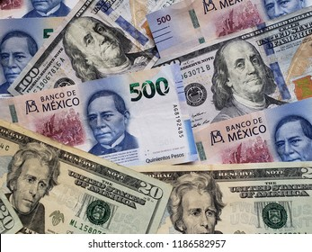 mexican banknotes and american dollars bills unorganized, background and texture