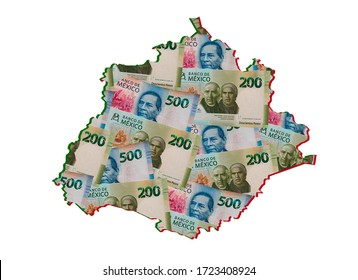 mexican banknotes forming and the map of Aguascalientes State and white background