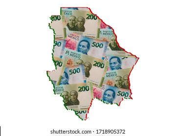mexican banknotes forming and the map of Chihuahua State and white background
