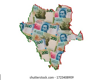 mexican banknotes forming and the map of Durango State and white background
