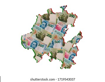 mexican banknotes forming and the map of Hidalgo State and white background
