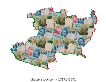 mexican banknotes forming and the map of Michoacan State and white background