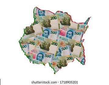 mexican banknotes forming and the map of Morelos State and white background