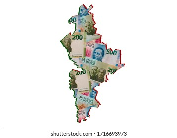 mexican banknotes forming and the map of Nuevo Leon State and white background