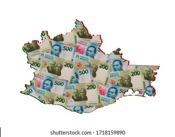 mexican banknotes forming and the map of Oaxaca State and white background