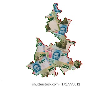 mexican banknotes forming and the map of Puebla State and white background