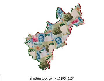 mexican banknotes forming and the map of Queretaro State and white background