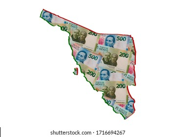 mexican banknotes forming and the map of Sonora State and white background