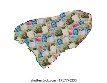 mexican banknotes forming and the map of Yucatan State and white background