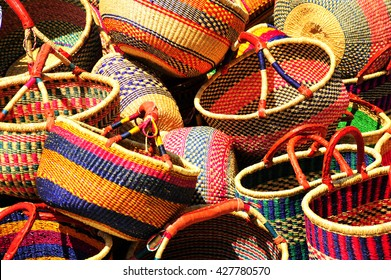 Mexican basket on display for tourist outdoors.