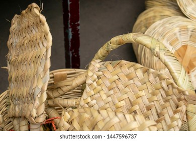 Mexican baskets and handicrafts with palm weaving