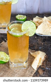 Mexican beer and lime juice cocktail
