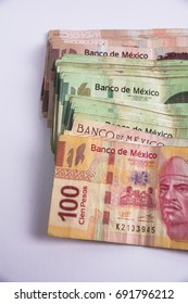Mexican Bills of different denomination, 100,200 and 500 pesos bills