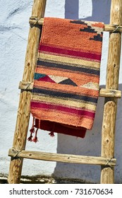 Mexican blanket in tradiitional colors and pattern