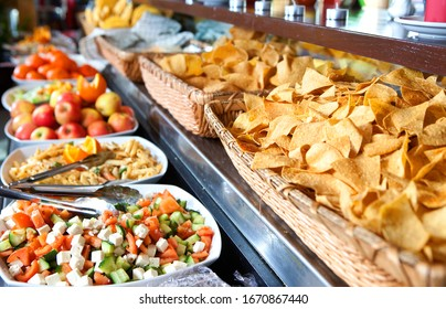 Mexican buffet with taco chips
