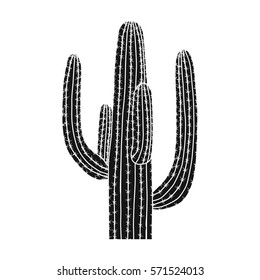 Mexican cactus icon in black style isolated on white background. Mexico country symbol stock bitmap, rastr illustration.