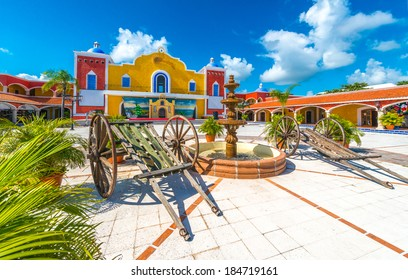 Mexican, caribbean hacienda, ranch plaza. Decorative traditional design. Theatrical stage.