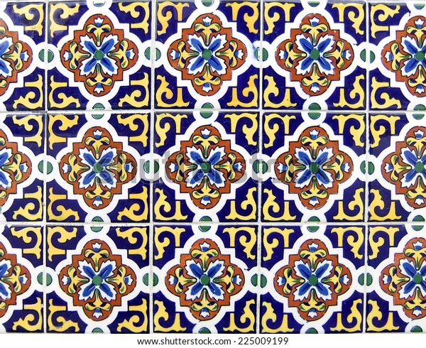 Mexican ceramic tile in dark blue and yellow, can be tiled