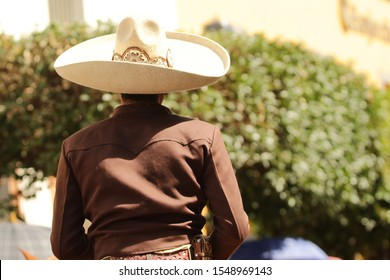 a mexican charro looking backwards, wearing traditional charro costume and hat