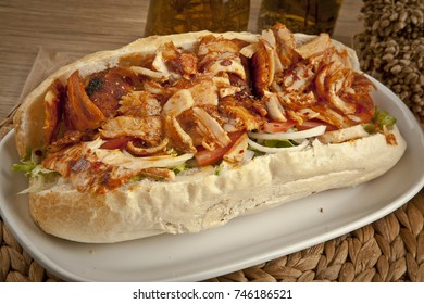 Mexican Chicken Doner Sandwich with pide. (fast food concept)