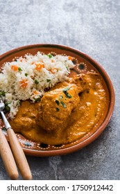 Mexican chicken with peanut sauce and rice with veggies