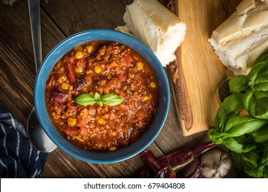 Mexican chili con carne in bowl. Selective focus. Top view.