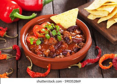 Mexican chili con carne, ground beef stew with red kidney beans