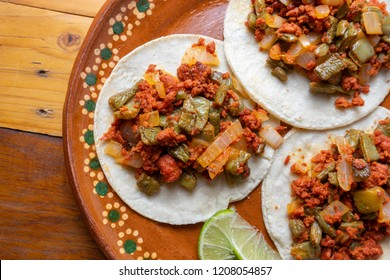 Mexican chorizo with nopales tacos