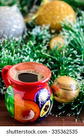 Mexican Christmas (cup of coffee on Christmas background)