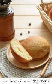 Mexican coffee bun is sweet bun with coffee topping and butter filling.