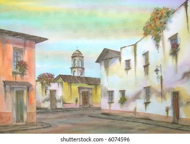 "Mexican Colonial Town, of Tlalpujahua, State of Mexico, Mexico; 50x70 cm. - 20"" x 24"" # 96-086"