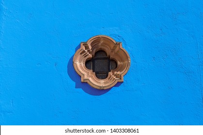 Mexican Colonial Window with Blue Wall paint