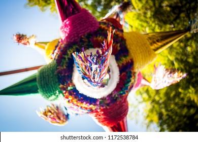 Mexican colorful pinata piñata tradition.