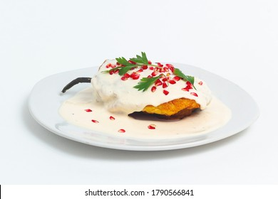 Mexican Cuisine. Chile en nogada on white background, minimal concept. Mexican food