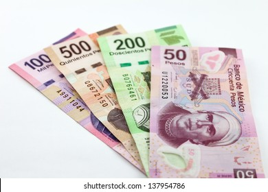 Mexican Currency. An image showing the 1000, 500, 200 and 50 Mexican currency bills.