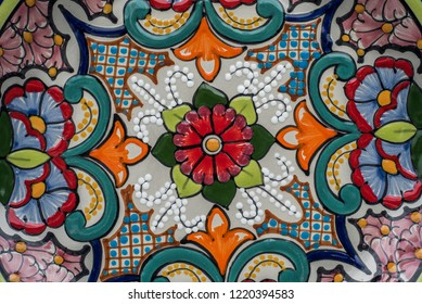 mexican designs talavera poblana colorful backgrounds with graphics of mexico flowers pigeons porcelain ceramics embossed traditional crafts culture folklor