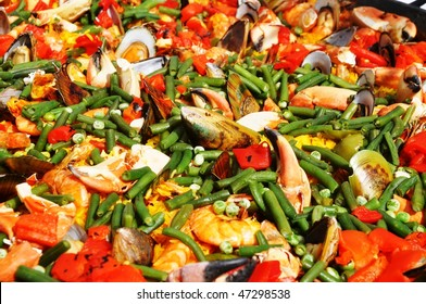 Mexican dish. Vegetables and sea products of a tasty dish of a Mexican cuisine.