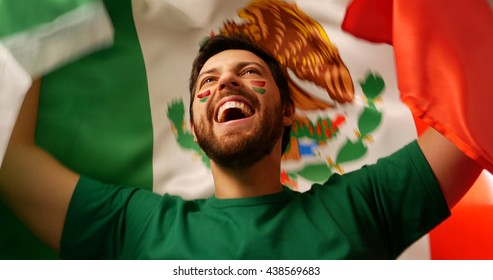 Mexican fan celebrates holding the flag of Mexico