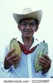 Mexican farmer with cacao beans at the church in the town of Esquipulas in Guatemala in central America.       Guatemala , Esquilupas, September, 2014