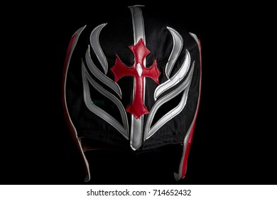 Mexican fighter mask isolated in black
