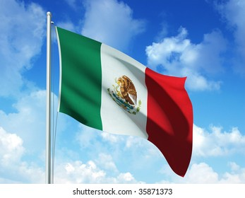 mexican flag in blue sky background - 3d rendered image