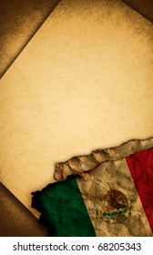 Mexican flag and old document papers