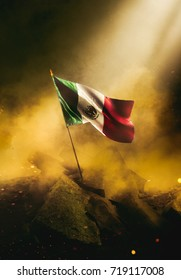 Mexican flag standing with triumph after a disaster.