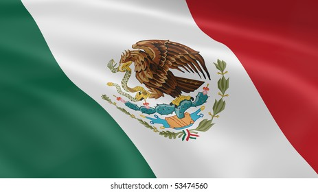 Mexican flag in the wind. Part of a series.