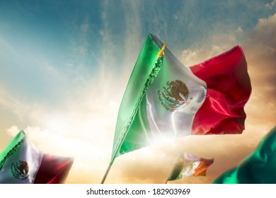 Mexican Flags with dramatic lighting, Independence day, cinco de mayo celebration