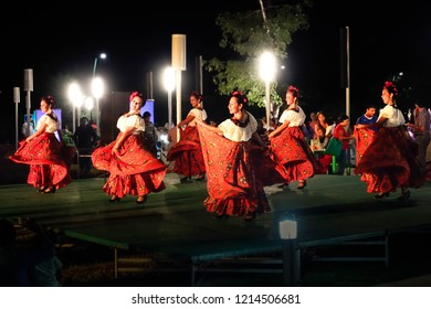 Mexican folkloric ballet performs on stage at night in Chiapas.July 9,  2015 in Chiapas, Mexico.