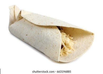 Mexican food burrito on white background