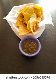 Mexican food chips and salsa