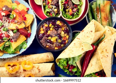 Mexican food mix on blue background. Top view