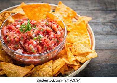 Mexican food - Nachos and salsa dip